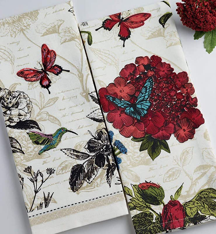 Design Imports DII Spring Botanical Blooms Dish Towels Set Of 2 Butterfly Hummingbird