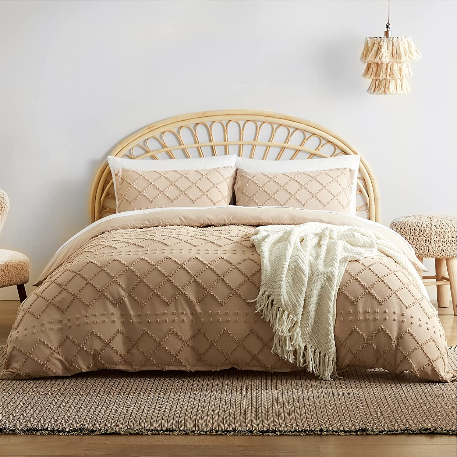 Bedsure Tufted Duvet Cover Set Queen Size, 3 Pieces Embroidery Shabby Chic Comforter Cover Set, Soft and Durable Bedding Set for All Seasons, Khaki