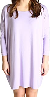 Women's Famous 3/4 Sleeve Bamboo Top Loose Fit,Medium,Lilac Tunic