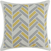 CaliTime Canvas Throw Pillow Cover Case for Couch Sofa Home Decoration Modern Striped Chevron Zigzag Geometric 18 X 18 Inches Grey Yellow