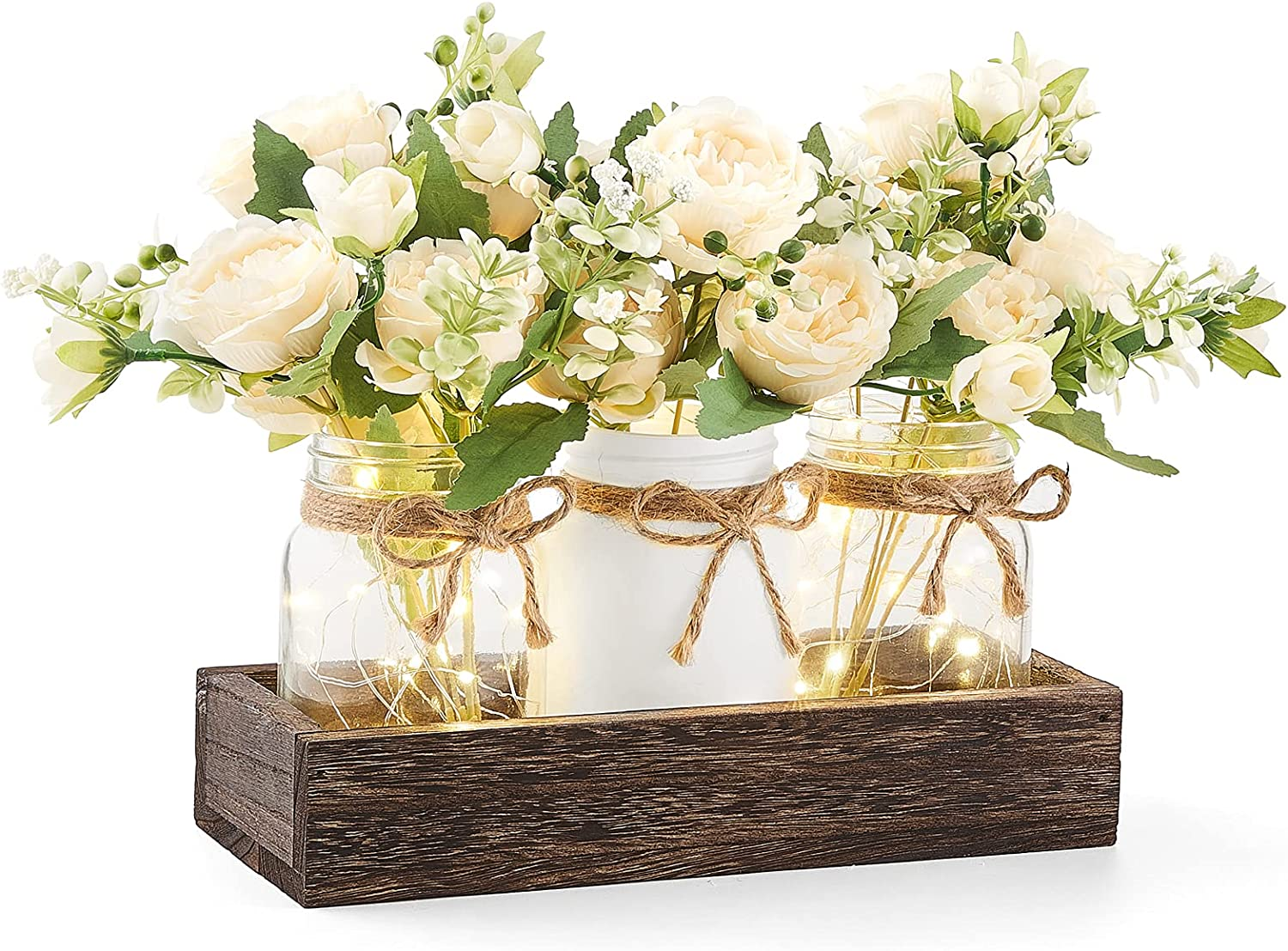 Mkono Mason Jar Lights Centerpiece Table Decorations for Dining Room Farmhouse Coffee Table Decor Rustic Wood Tray with 3 Painted Jars Flowers Table Centerpieces Decor for Kitchen Living Dining Room
