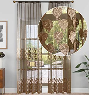 Aside Bside Violet Lace Sheer Curtain for Living Room Bedroom Leaf Pattern Embroidered Voile Curtain Rod Pocket Panel(1 Panel, W 50 x L 84 inch, Brown)
