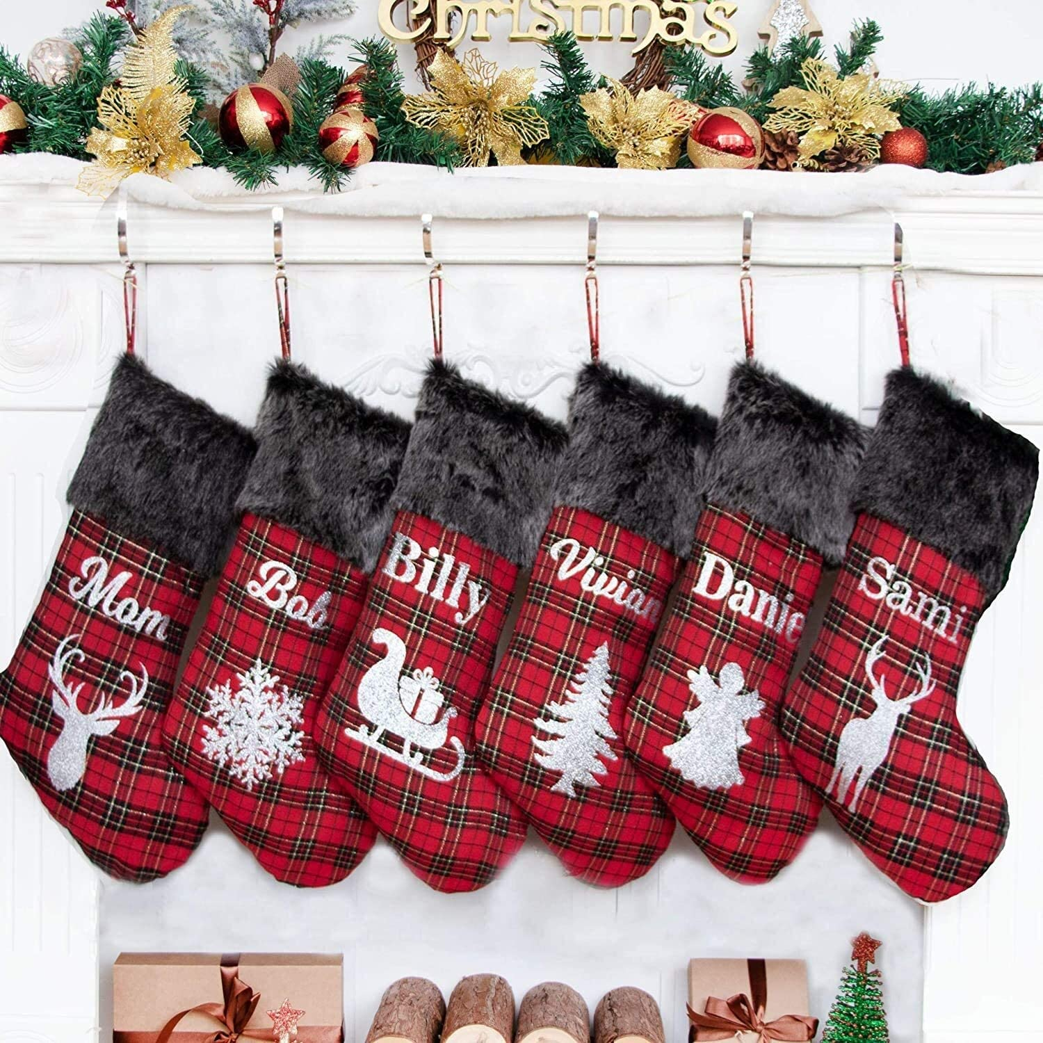 2020 NEW Personalised Christmas Stockings Plaid Max 58% OFF Red Bargain C with Names