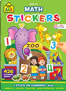 School Zone - Math Stickers Workbook - Ages 3 to 6, Preschool to Kindergarten, Counting, Numbers 1-12, Telling Time, Matching, Basic Math, and More (School Zone Stuck on Learning® Book Series)