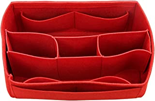 [Fits Neverfull PM/Speedy 25, Red] Felt Organizer (with Detachable Middle Compartments), Bag in Bag, Wool Purse Insert, Customized Tote Organize, Cosmetic Makeup Diaper Handbag
