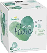 Pampers Aqua Pure 8 Pop-Top Packs Sensitive Water Baby Diaper Wipes, Hypoallergenic and Unscented 448 Count