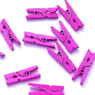 10 Petites mini pinces à linge en bois couleurs fournitures attache clip miniature (Rose)