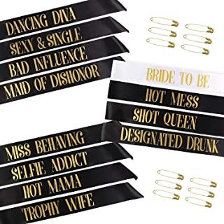 Bachelorette Party Sashes, Cooliya Bride to Be Sash and Bride Tribe Sashes, Unique Bride Bridesmaid Sashes with 12 Safety Gold Pins for Bachelorette Party (Black, 12 Pack)