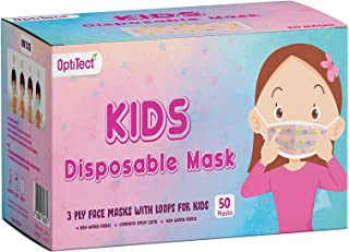 OptiTect 50pcs Designer disposable face mask for kids health protection - breathable 3-Ply protective face mask & Comforta...