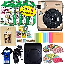 Fujifilm instax Mini 70 Instant Film Camera (Stardust Gold) + Fujifilm instax Mini Instant Film (40 Sheets) + Custom Case + Assorted Frames + Photo Album + 60 Colorful Sticker Frames + HeroFiber