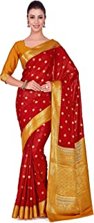 MIMOSA Art Crape Silk Wedding Saree Kanjivarm Pattu Style with Contrast Blouse Color: Red (4272-2271-2D-MRN-MST)