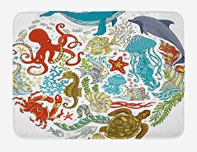 Indoor and Outdoor Entrance Carpet Durable Thick Door mat Kitchen Entrance/Laundry/Living Room.Ocean Fish Sealife Octopus Whales Dolphin Moss Starfish Turtle World Shaped Bath mat.