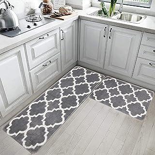 HEBE Kitchen Rug Set Non Slip Moroccan Trellis Kitchen Rug and Mat Set Washable Throw Rug Carpet Mat Runner for Entryway K...