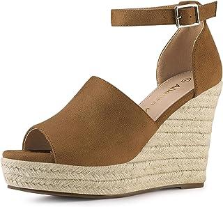 Allegra K Women's Faux Suede Platform Heels Wedges Sandals