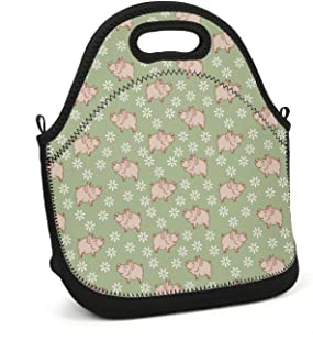 uter ewjrt Insulated Polyester Genie Pig with Daisy in The Green Meadow Printed Lunch Box Toto Mom Bag for School Work Outside Picnic