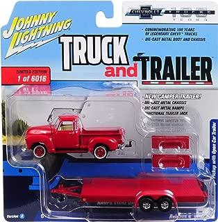 Johnny Lightning 1950 Chevrolet Pickup Truck with Open Car Trailer Red 1:64 Diecast JLSP018