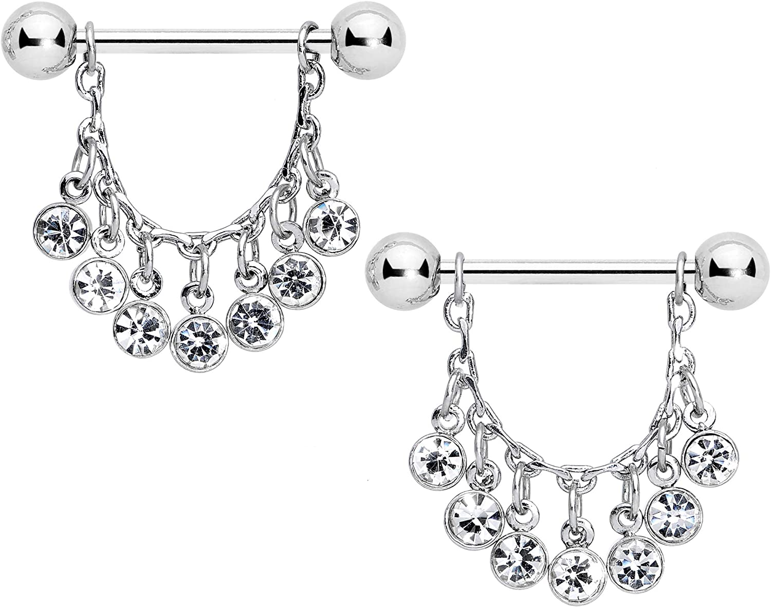 Body Candy 14G Womens Nipplerings Piercing Steel 2Pc Clear Accent Fringe Dangle Nipple Ring Set 5/8