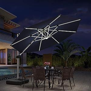 PURPLE LEAF 11ft Solar powered LED Patio Umbrella Outdoor Round Umbrella Large Cantilever Umbrella with LED lights Windproof Offset Umbrella Sun Umbrella for Garden Deck Pool Patio, Navy Blue