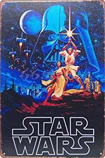 1977 Star Wars Poster, Metal Tin Sign, Vintage Style Wall Ornament Coffee & Bar Decor, Size 8