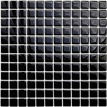 APSOONSELL モザイクタイルシール 【2枚】 DIY 壁紙シール 黒 3D タイルシール 洗面所 キッチン 防水 ステッカー 壁紙 はがせる KBMS-40B