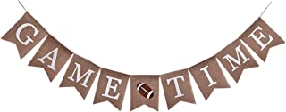 Sports Themed Birthday Supplies and Decorations,Rustic Football Game Time Burlap Banner for Boys