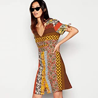 3999a5fdbe Red Herring Womens Multicoloured Spliced Paisely Print Mini Dress