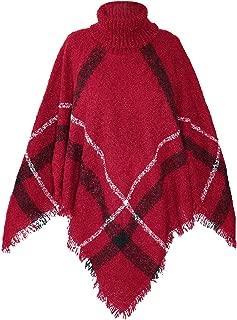 Women's High Collar Batwing Tassels Poncho Cape Winter Knit Sweater Cloak
