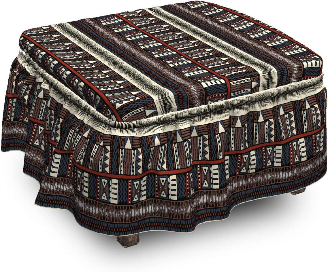 Lunarable Finally Challenge the lowest price of Japan ☆ popular brand Tribal Ottoman Cover Horizontal 2 Piece Sl Triangles