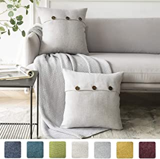 Azume Pack of 2 Decorative Throw Pillow Covers Triple Button Linen Cushion Case for Coush, Sofa, Chair, 20x20, Grey