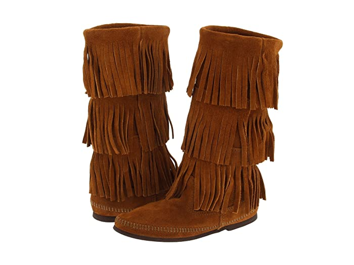 Women's Vintage Shoes & Boots to Buy Minnetonka Calf Hi 3-Layer Fringe Boot Brown Suede Womens Pull-on Boots $97.95 AT vintagedancer.com