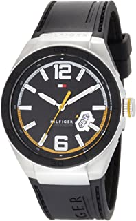 Men's 1790724 Logo Embossed Stainless Steel Black Silicon Watch