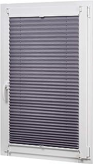 AmazonBasics - Estor enrollable plisado, de tela de poliéster color liso, con sistema de clips, 90 x 130 cm, Gris