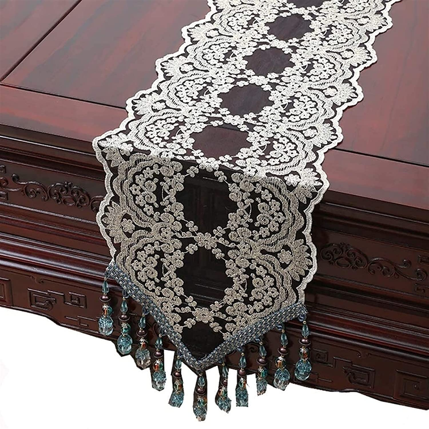 High quality new Shelfon Simple Table Runner Embroidered Lace White Max 69% OFF