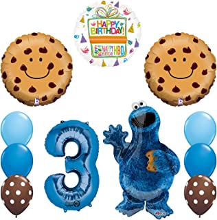 Mayflower Products NEW! Sesame Street Cookie Monsters 3rd Birthday party supplies and Balloon Decorations