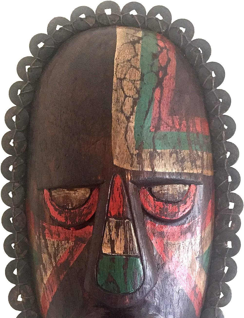 Oma Wood Carved African Mask Wall Hanging With Real Coins For Fortune Luck African Maori Home Decor Gift Multi Color Clothing Amazon Com