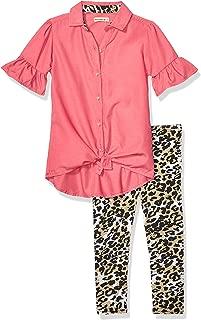 One Step Up 女童针织束腰上衣和打底裤套装