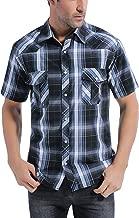 Coevals Club Men's Button Down Plaid Short Sleeve Work Casual Shirt