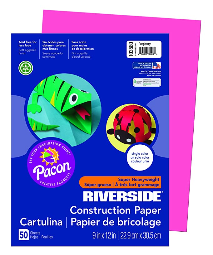 Riverside 3D Construction Paper, Raspberry, 9