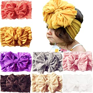 8 Pack Baby Girls Big Hair Bows Super Stretchy Soft Knotted Breathable Headbands Head Wraps For Newborn Infant Toddlers Kids
