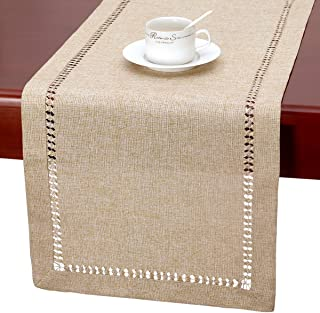 Grelucgo Handmade Hemstitch Beige Table Runner Or Dresser Scarf, Rectangular 14 by 120 Inch