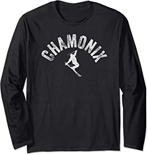 Chamonix Mont Blanc Ski France Vintage Skiing Snow Skier Long Sleeve T-Shirt
