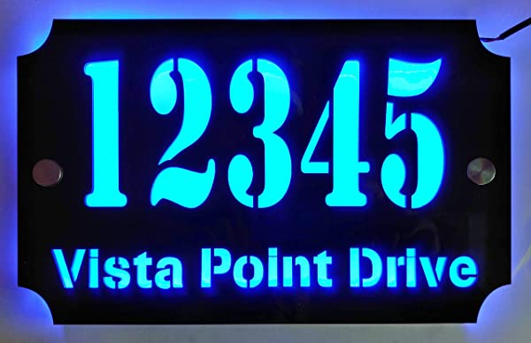 Custom House Address Plaque LED Illuminated Laser Engraved Acrylic Double Plates Sign Premium Quality Stylish And Durable 11 X7 Rectange Blue LED