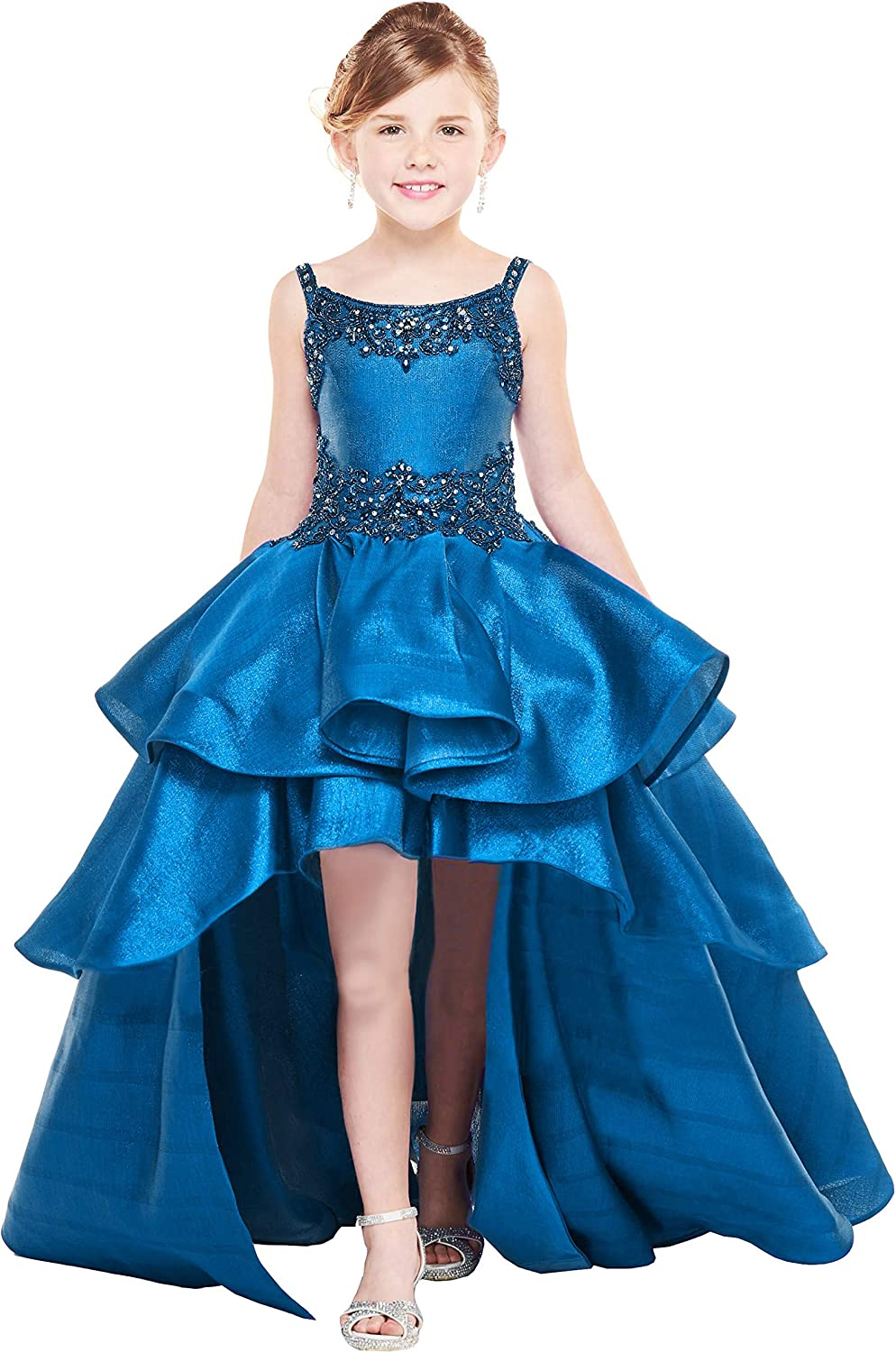 Honeydress Girl's Hight Low Girls Pageant Dresses Square Neck with Straps Beaded Kids Evening Party Dresses
