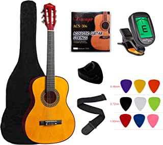 """YMC Classical Guitar 1/2 Size 34"""" Inch Nylon Strings Classical Acoustic Guitar Starter Pack With Carrying Case & Accessori..."""