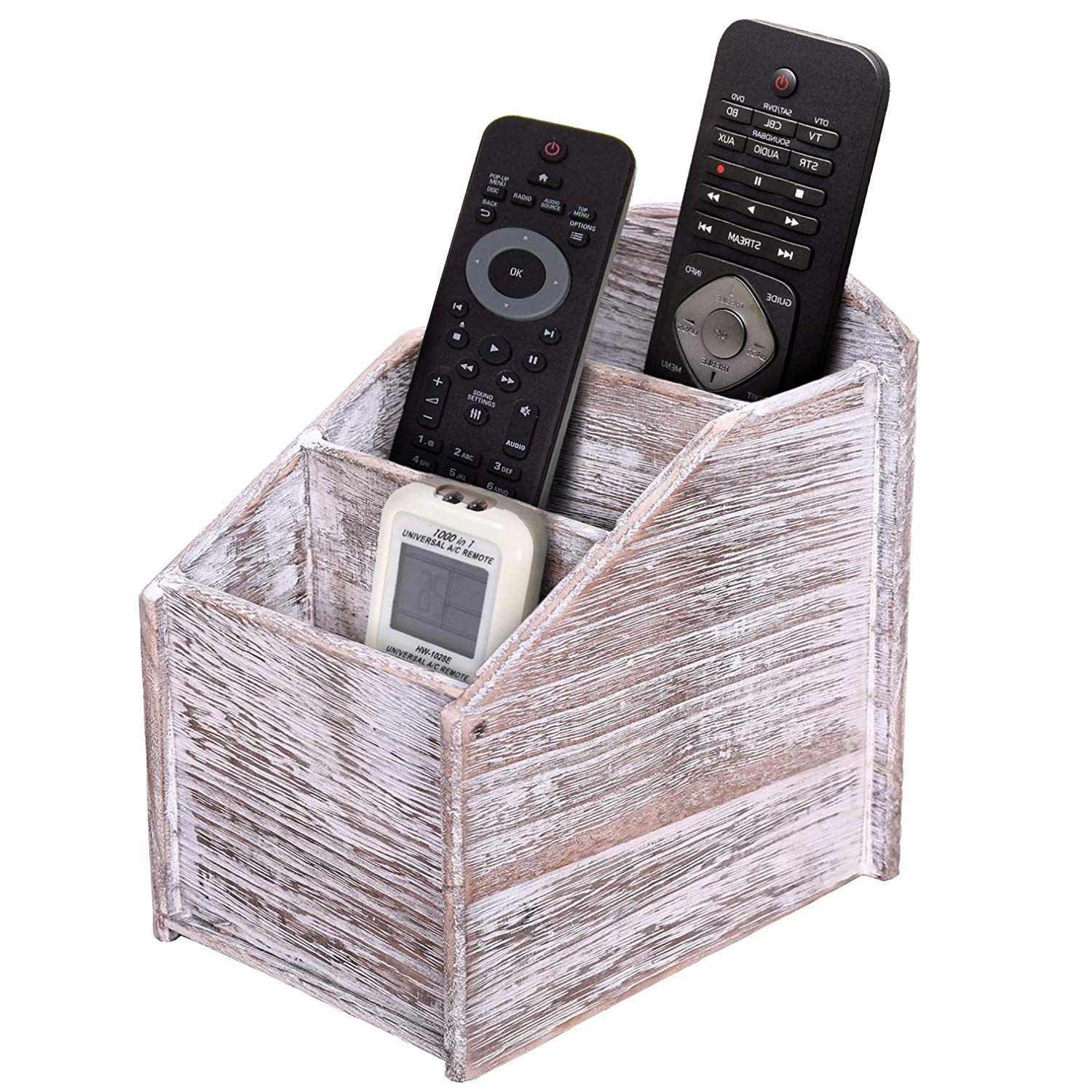 Rustic 3 Slot Wooden Remote Control Holder Caddy Holder For Multimedia Office Or Desk Supplies Modern Farmhouse Decor For Living Room Distressed Vintage Whitecolor Buy Online In Belize At Desertcart