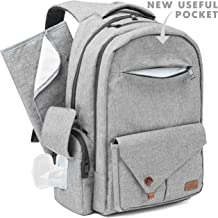 Large Diaper Bag Backpack for Dad Mom - MultiFunction Waterproof Unisex Back Pack Baby Diaper Bag for Men Women Boys Twins with Stroller Straps Insulated Pocket - Changing Pad - Durable Bookbag Grey