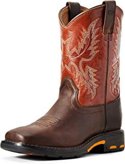 ARIAT Kids' YTH Workhog Wide Square Dark Earth/Brick Work Boot