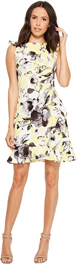 Sleeveless Printed Crepe with Ruffle Skirt
