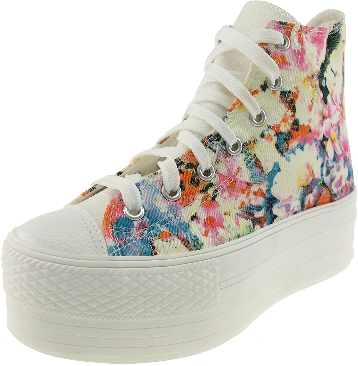 Maxstar Flower Printed High Top Canvas Platform Sneakers shoes