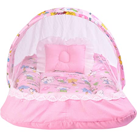 Babloo New Born Baby Bedding Set Mattress with Mosquito Net (0-6 Months Pink)